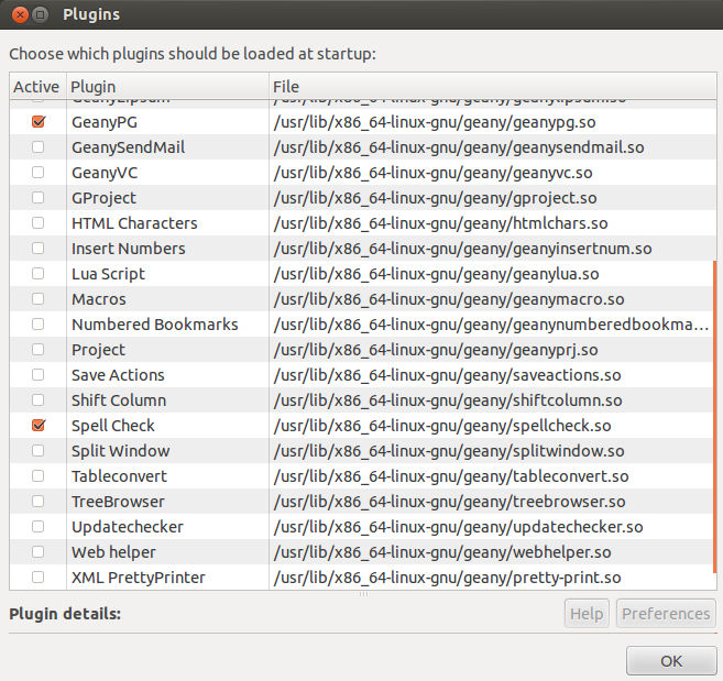 screenshot of geany plugin manager